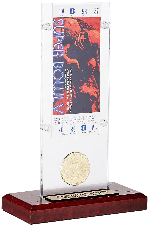 NFL Baltimore Colts Super Bowl 5 Ticket & Game Coin Collection, 12' x 2' x 5', Black 12 x 2 x 5 The Highland Mint SB5TACRYLK