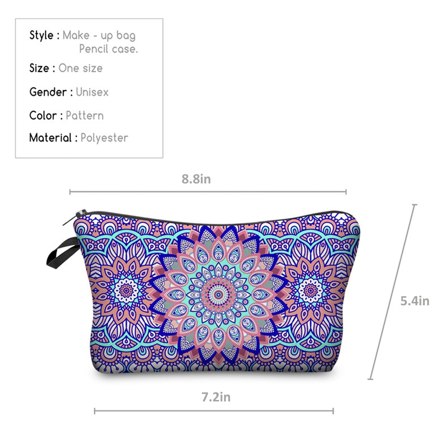 Mandala Pencil Case Floral Plush Bag Pen Cosmetic Travel Make up Pouch Gift for School Kids Boys Girls (1)