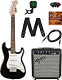 Squier by Fender Short Scale Stratocaster Pack with Frontman 10G Amp, Cable, Strap, Picks, and Online Lessons - Black Bundle with Austin Bazaar Instructional DVD