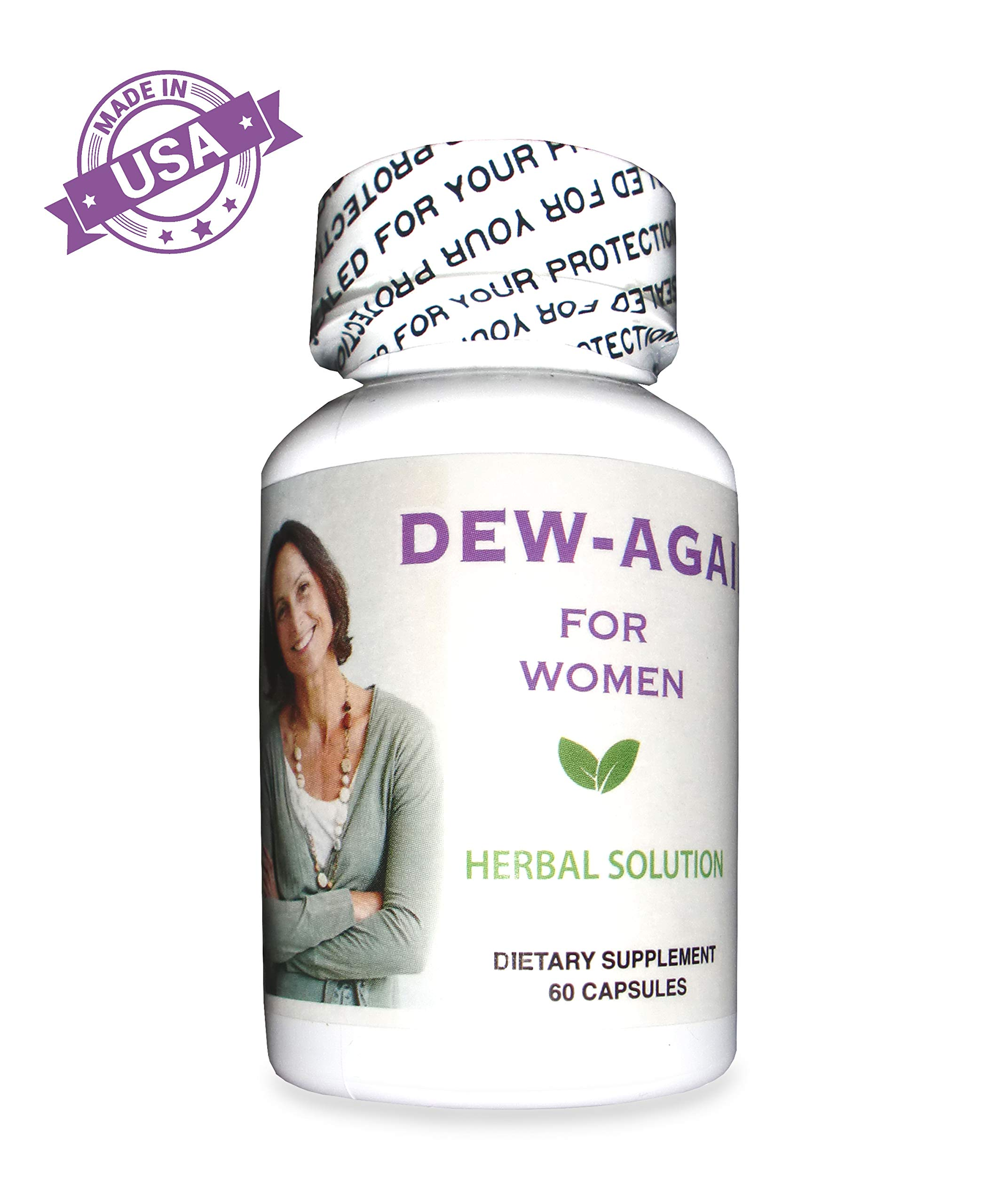 Dew-Again Vaginal Dryness Supplement - 100% Natural Herbal Blend, Moisturizes and Increases Vaginal Lubrication, High Potency, No Hormones, No Side Effects, 60 Capsules by Dew-Again