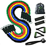 Gada 11Pcs Resistance Band Set,Heavy duty Workout Fitness Exercise Tube Bands with cloth Cover, Door Anchor, Ankle Strap, and Resistance Band Carrying Case,Best Quality ANTI-SNAP Rubber Bands Kit