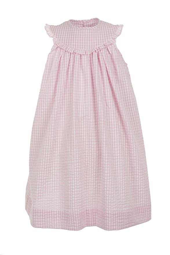 73f642485 Amazon.com: Carriage Boutique Girls Pink Dress Seersucker - Monogram Option  - Sleeveless: Clothing