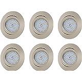 Set de 6 Spots LED Encastrable 6x5W 400 lm orientable, ultra plat rond 230 volts[Classe énergétique A+] Hauteur d'encastrement seulement 30mm coloris nickel mat