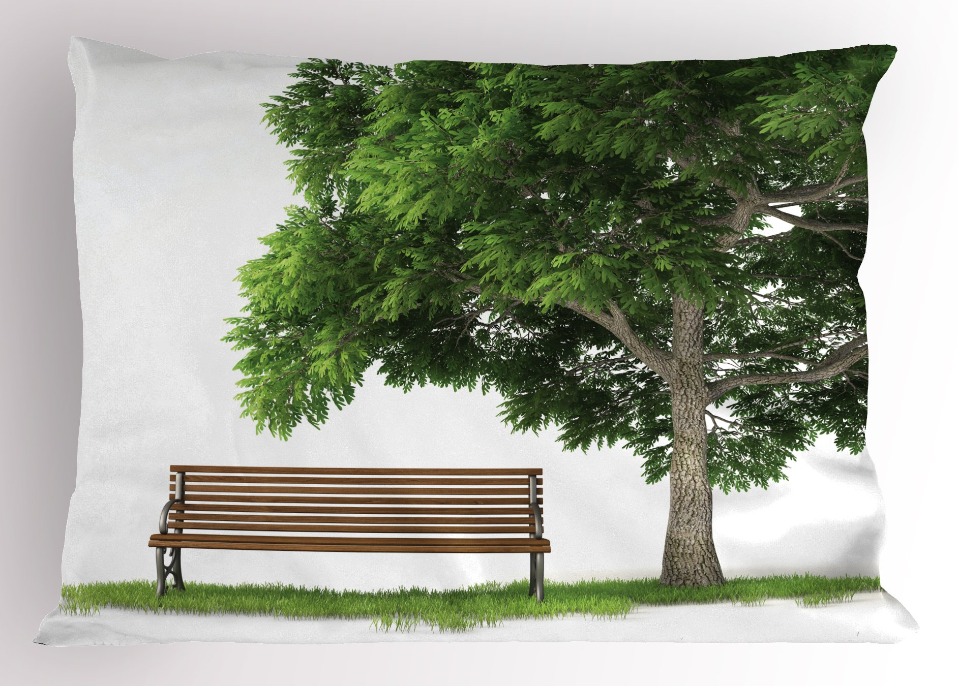 Lunarable Tree Pillow Sham, Beach Under Oak Tree Outdoor Objects Habitat Grass Foliage Wood Environment Concept, Decorative Standard Queen Size Printed Pillowcase, 30 X 20 inches, Green Brown by Lunarable (Image #1)