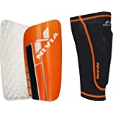 Nivia Dominator 7027 Football Shin Guards with Sleeves, Medium (Blue/White/Orange)
