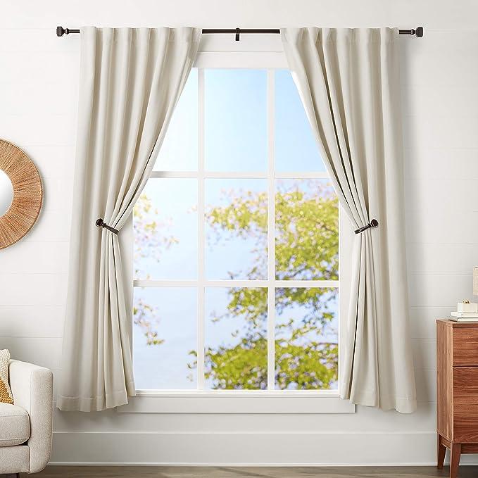 71 /à 122/cm Noir Basics Tringle /à rideaux 1,6/cm avec embouts ronds
