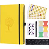 CLEARANCE SALE ! ! ! Bullet Journal - Lemome Dotted Numbered Pages Hardcover A5 Notebook with Pen Holder - Premium Thick Paper + Bonus Gifts (Lemon Yellow)