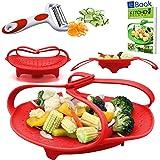 Instant Pot Silicone Steamer Basket - Red - BEST Bundle - Fits 5, 6 & 8 Quart Instapot Pressure Cooker - 100% Silcon - BONUS Accessories - Vegetable Peeler + Recipe eBook - Use as Egg Rack Insert