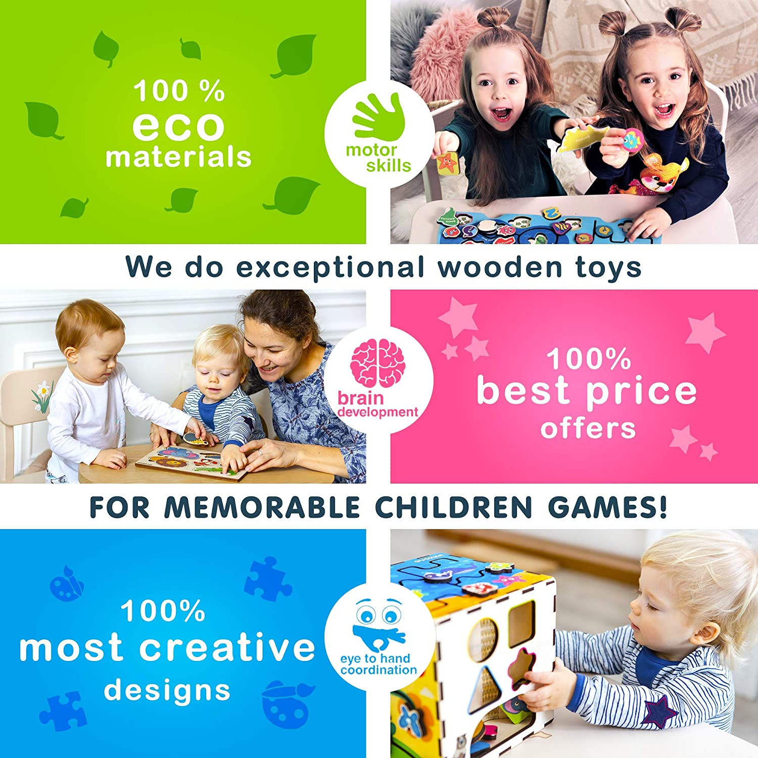 Size 7.5 x 9.8 Logical Thinking for Kids | For Toddlers 2 and 3 Years Old Quokka Wooden Puzzle for Toddlers Peg Buildings Puzzle Shapes 8 pcs Developmental Toy for Baby