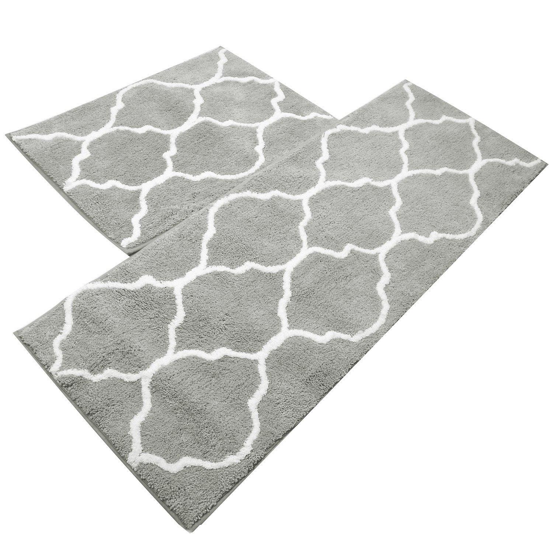 U'Artlines Kitchen Mat, Decorative Non-Slip Microfiber Doormat Bathroom Mats Shower Rugs for Living Room Floor Mats (17.7x25.6+17.7x47.2, Gray)