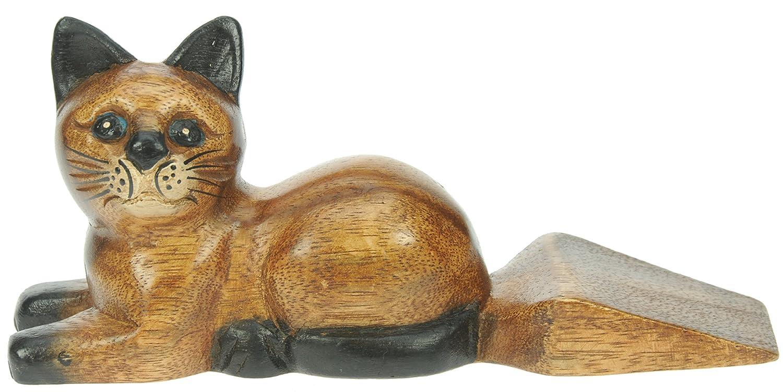 Gato - tope puerta - figuras decoracion - hecho de madera - tamaño 21cm: Amazon.es: Hogar