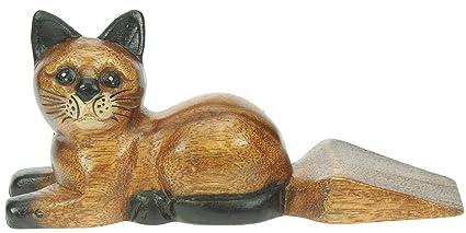 Gato - tope puerta - figuras decoracion - hecho de madera ...