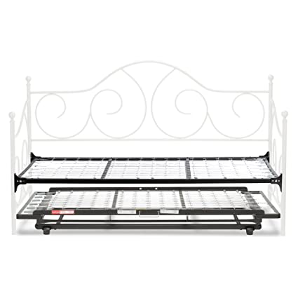 half off 6bf1a 37867 Adjustables by Leggett & Platt Caroline Complete Metal Daybed with Link  Spring and Trundle Bed Pop-Up Frame, Twin, Antique White Finish