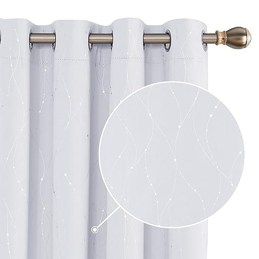 Deconovo Cortinas Opacas con Puntos Plateados Cortina para Sal/ón y Dormitorio con Trabillas 2 Piezas 140 x 175 cm Blanco Gris