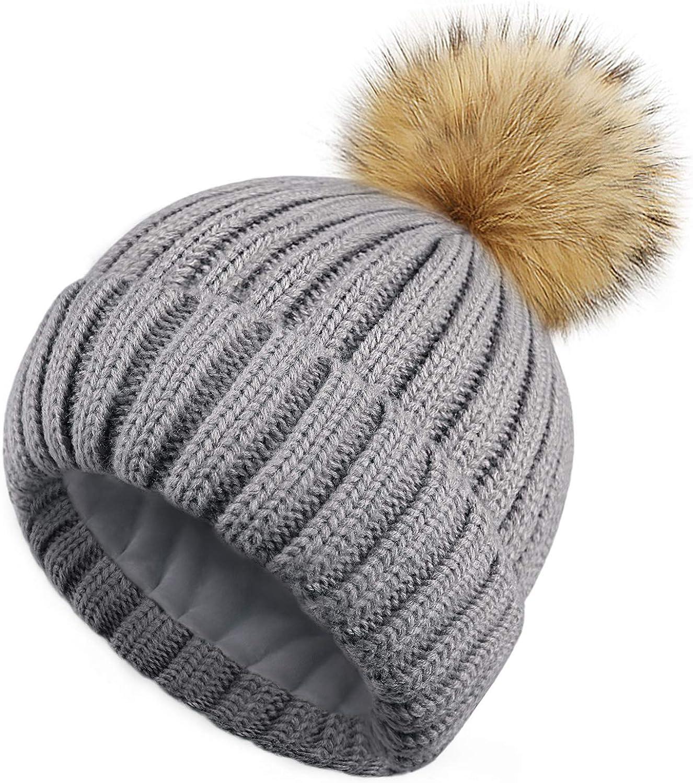 HATOOZE Sombrero de Invierno con forro polar de doble capa y pompón de piel sintética desmontable Mujer