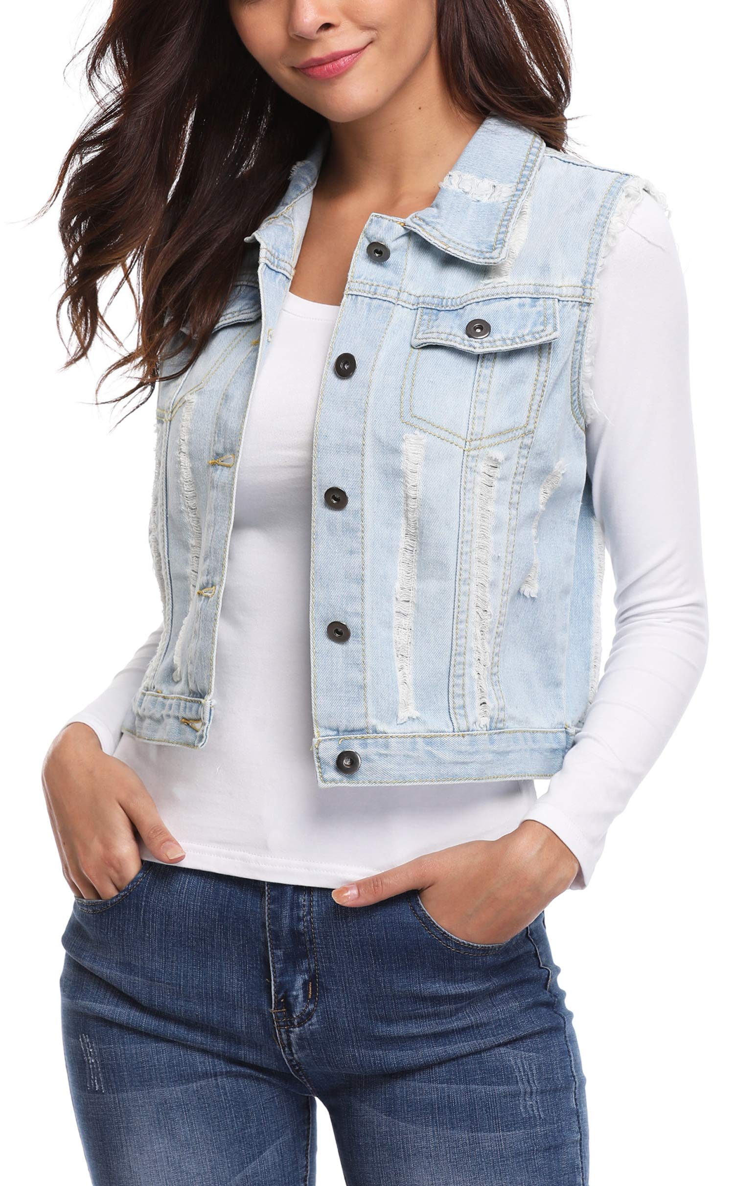 MISS MOLY Women's Sleeveless Denim Jacket Vest Turn Down Collar Buttoned Frayed Washed w 2 Chest Flap Pockets Light Blue XL by MISS MOLY (Image #4)