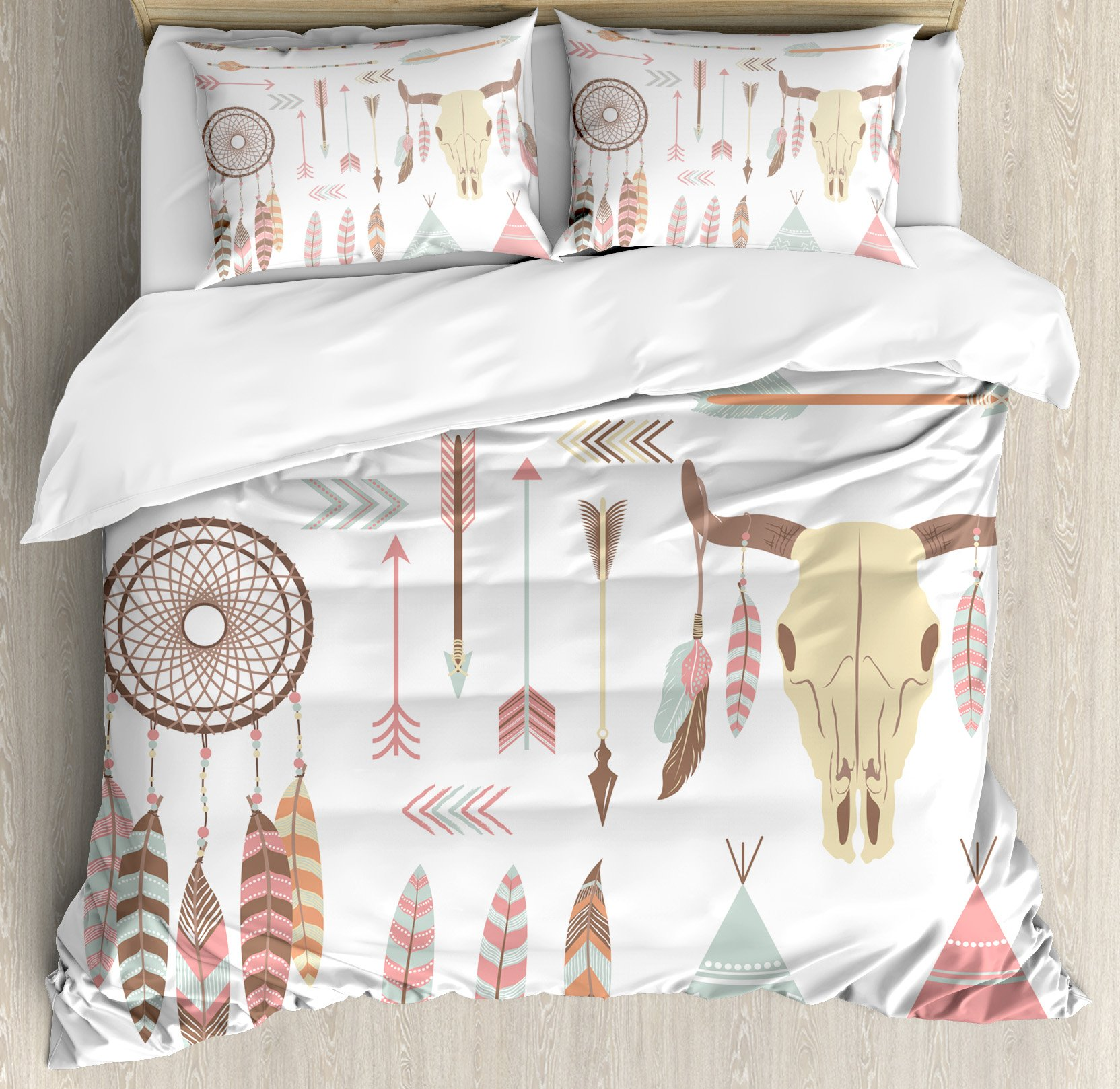 Native American Duvet Cover Set by Ambesonne, Tribal Indian Elements Dreamcatcher Mountain Goat Feather Arrow Ethnic Indie Art, 3 Piece Bedding Set with Pillow Shams, Queen / Full, Multi