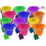 1 Dozen Beach Sand Pails and Shovels -9 inch, assorted colors, Sand Buckets fir Kids, Sand Buckets Large, By 4E's Novelty
