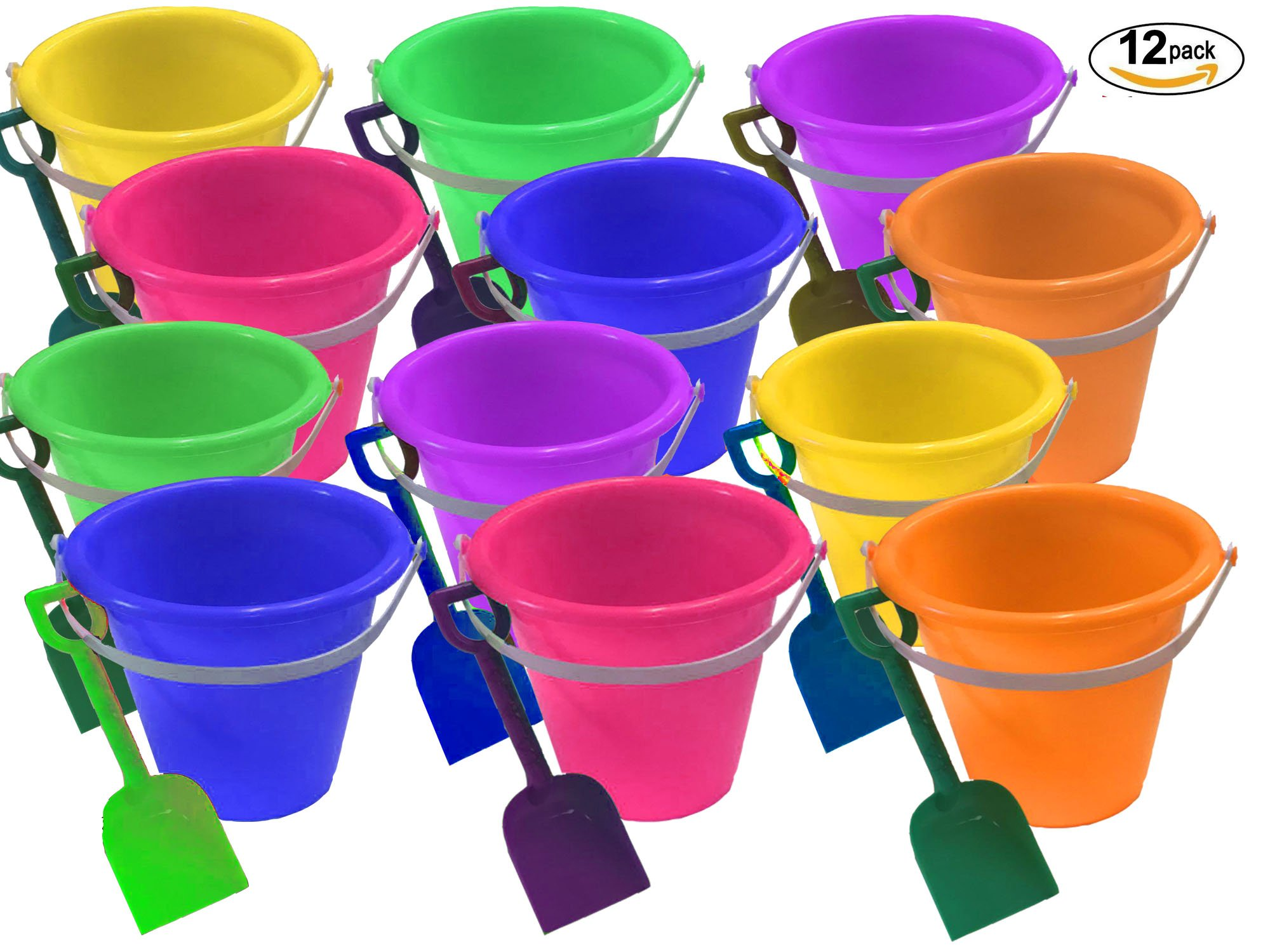 4E's Novelty 1 Dozen Beach Sand Pails and Shovels -9 inch, Assorted Colors, Sand Buckets for Kids, Sand Buckets Large, Great for for Birthday or Mermaid Theme