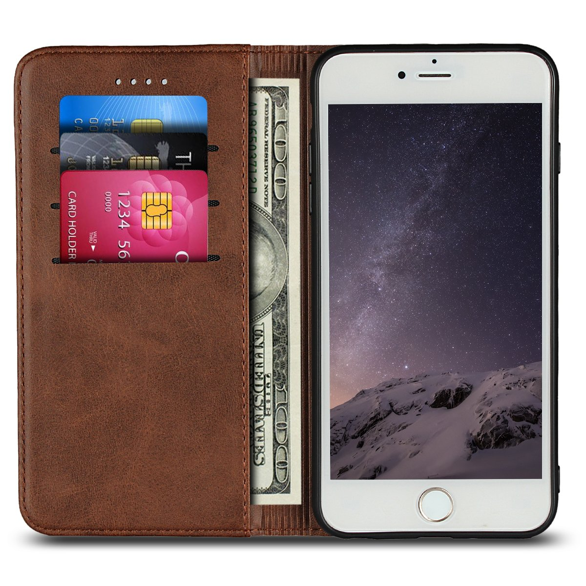 iPhone 7 Phone Case, iPhone 8 Phone Case, PU Leather Folio Flip Wallet Case with Credit Card Holder Magnetic Closure Protective Cell Phone Cover for Apple iPhone 7 / iPhone 8 4.7 inch - Dark Brown HAOHUI