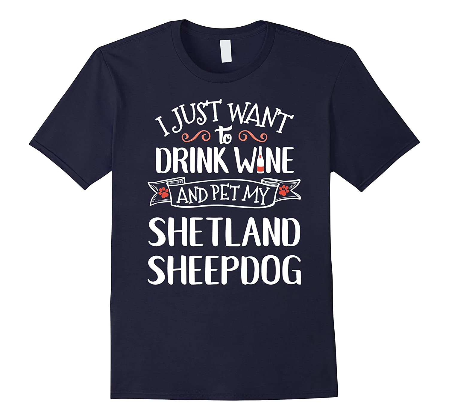 Shetland Sheepdog T-Shirt for Wine Lovers  Dog Owners