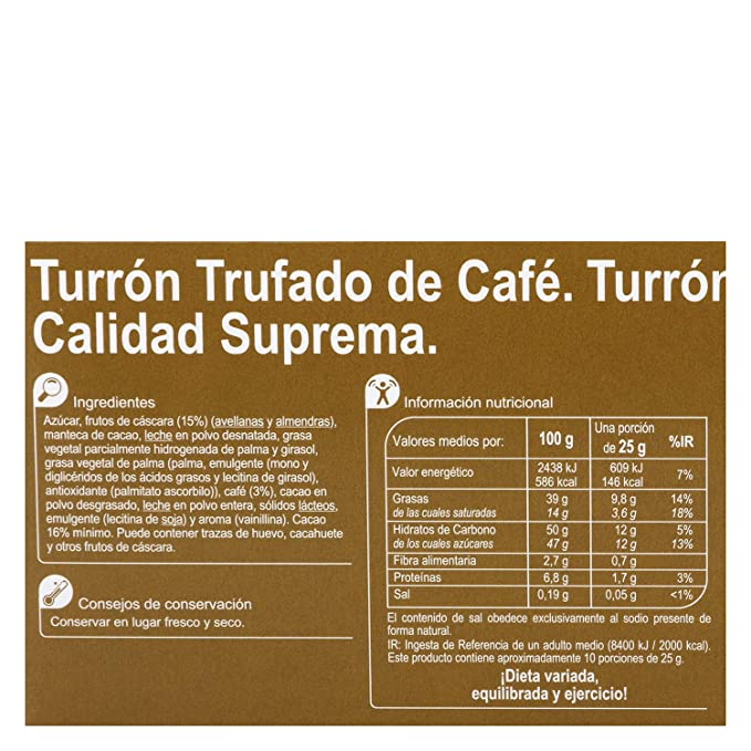 Amazon.com : 6 Pack Carrefour Chocolate-Coated Spanish Nougat with Coffee 200g - Made In Spain - Supreme Quality - Chocolate & Coffee Nougat - Gluten-Free ...