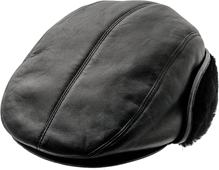 80356c289c7c7f Sterkowski Genuine Leather Winter Flat Cap with Ear Flap US 6 3/4 Black