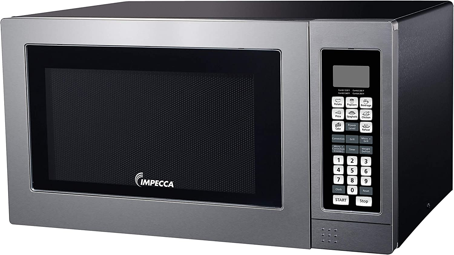 Impecca 3-in-1 Countertop Microwave Oven, Convection Oven and Broiler Grill, 8 Pre-Set Menus, 10 Power Levels, Child Lock, Cooking Complete Notification, 1.2 Cu. Ft. 1000-Watts, Stainless Steel