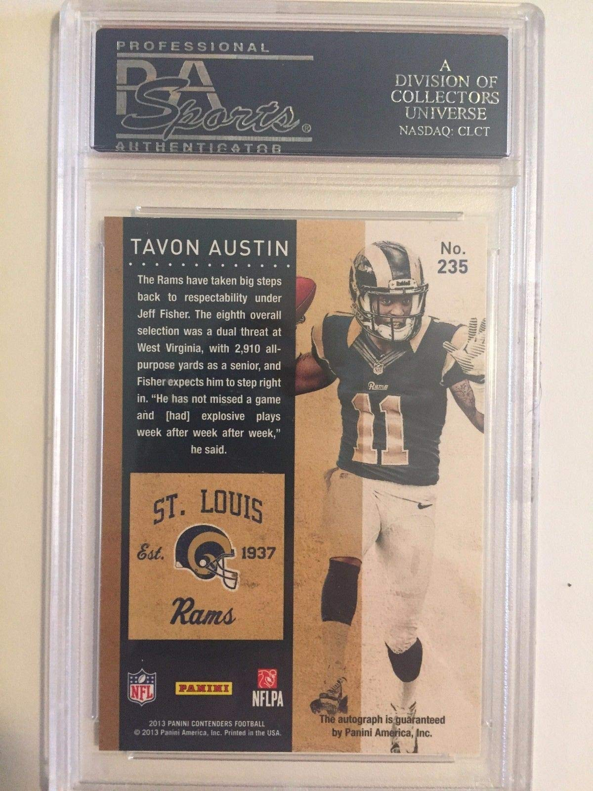 Tavon Austin Autographed Signed 2013 Panini Contenders Rookie Ticket Autographed Signed #235 Rc PSA/DNA Authentic