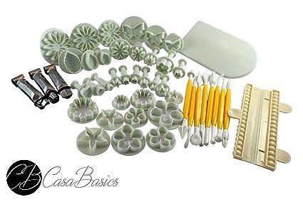 Set CasaBasics para Fondant - 46 piezas - Incluidos Moldes para Cortar pastas, Cortadores con