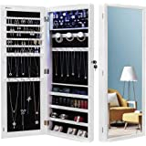 Nicetree 6 LEDs Jewelry Armoire Organizer, Wall/Door Mounted Jewelry Cabinet with Full Length Mirror, Larger Capacity, Dressi