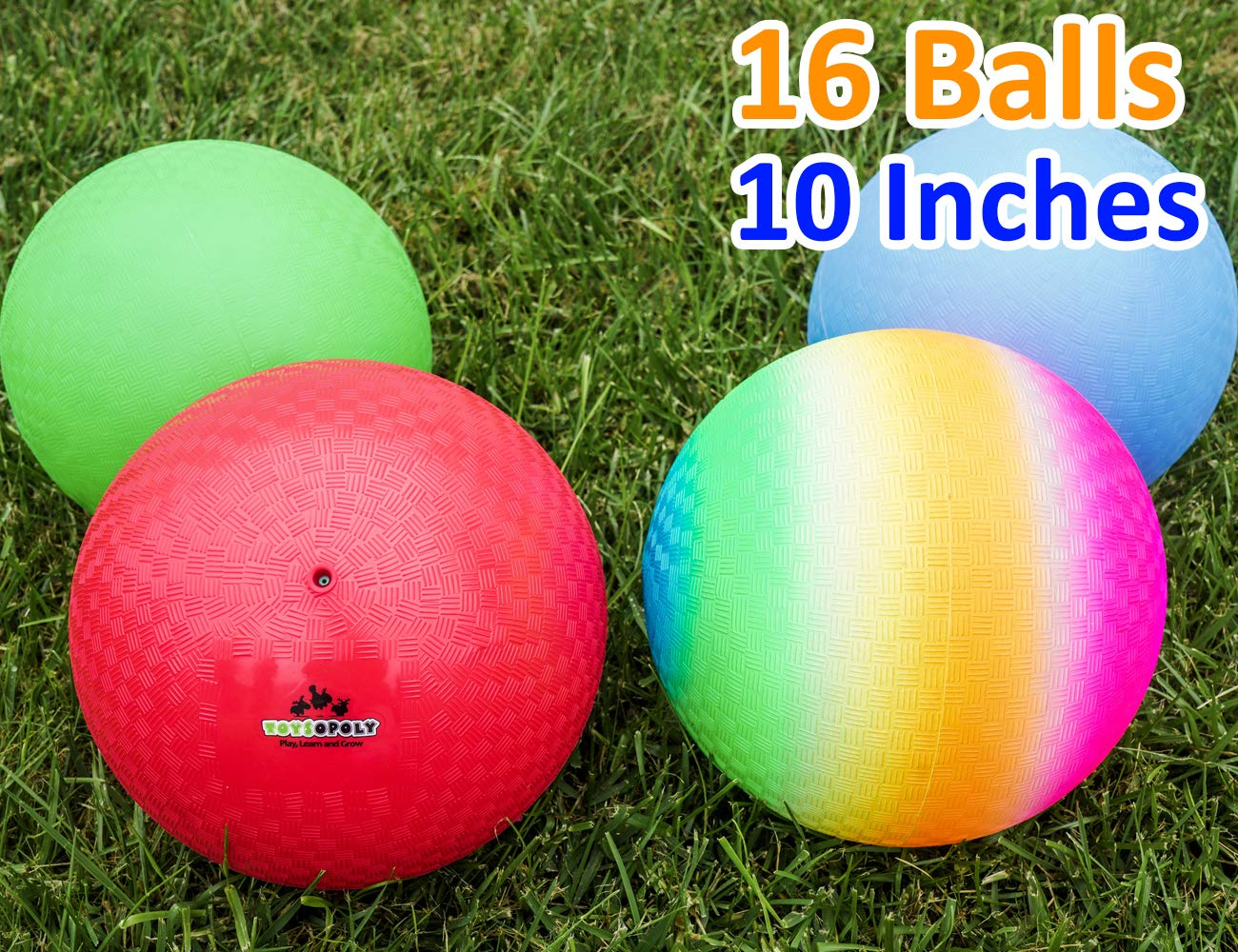 Playground Balls 10 inch Dodgeball (Set of 16) Kickball for Boys Girls Kids Adults - Official Size Bouncy Dodge Ball, Handball, Four Square Picnic School + Free Pump by ToysOpoly