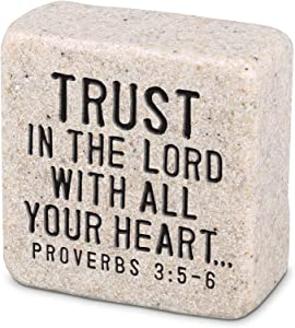 Lighthouse Christian Products Trust in The Lord Scripture Block 2.25 x 2.25 Cast Stone Plaque