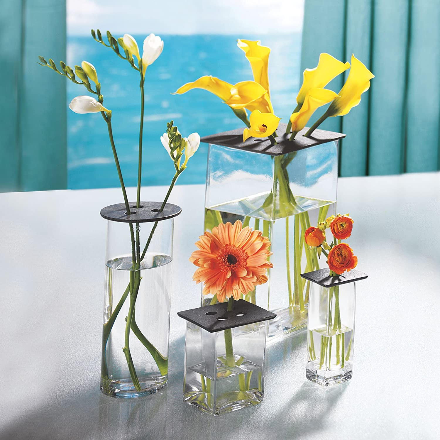 Skalny Square Glass Vase with Cast Iron Lid 2 x 2 x 6.25
