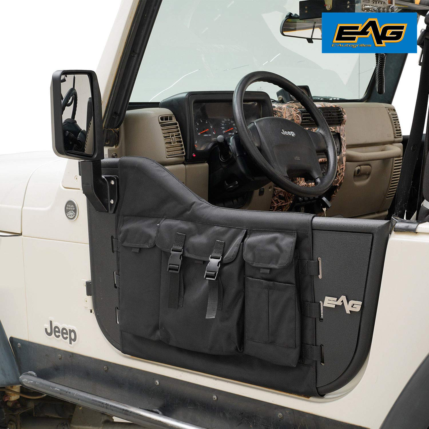 EAG Pocket Steel Tubular Door with Side View Mirror for 97-06 Jeep Wrangler TJ