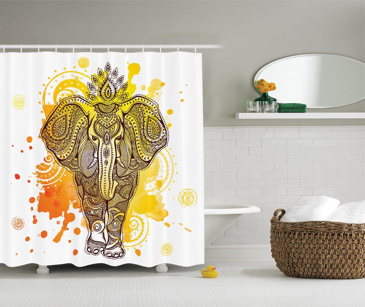 Amazon.com: Ambesonne Watercolor Splash Art Decor Shower Curtain Set ...