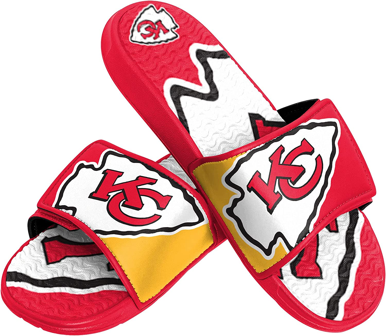 FOCO NFL Kansas City Chiefs Mens Sport Shower Gel Slide Flip Flop SandalsSport Shower Gel Slide Flip Flop Sandals, Colorblock Big Logo, Small (7-8) (FFSSNFCBBLGGEL) : Clothing