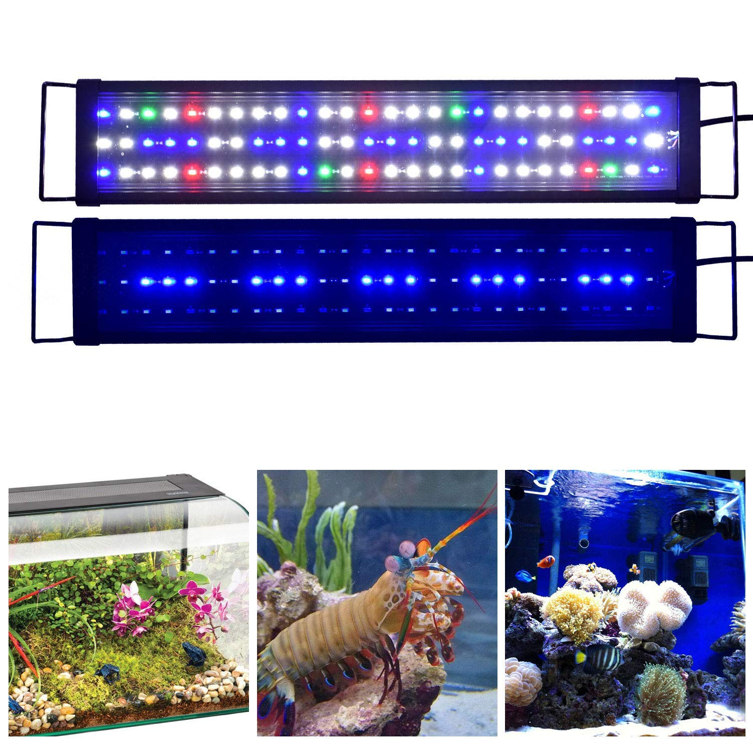90CM PLUY Aquarium Hood Lighting LED Fish Tank Light 12-47 inch Lamp for Freshwater Saltwater Marine Full Spectrum bluee and White Decorations Light