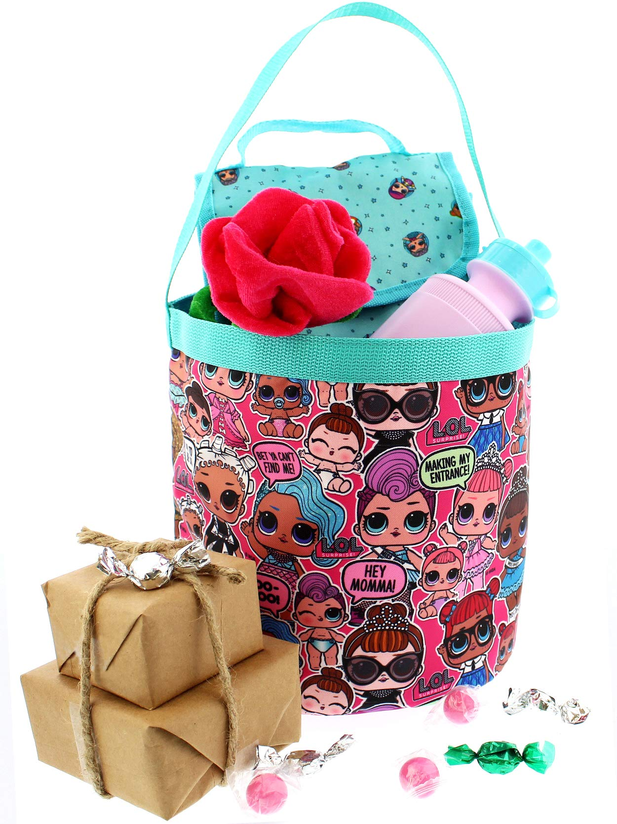 L.O.L. Surprise! Girls Collapsible Nylon Beach Bucket Toy Storage Gift Tote Bag (One Size, Pink) by L.O.L. Surprise! (Image #4)