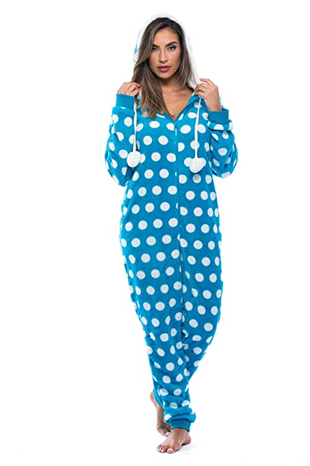 b07d0e7a5e94 Ladies Adult Onesie Pajamas Soft Blue White Polka Dots One Piece with Hood