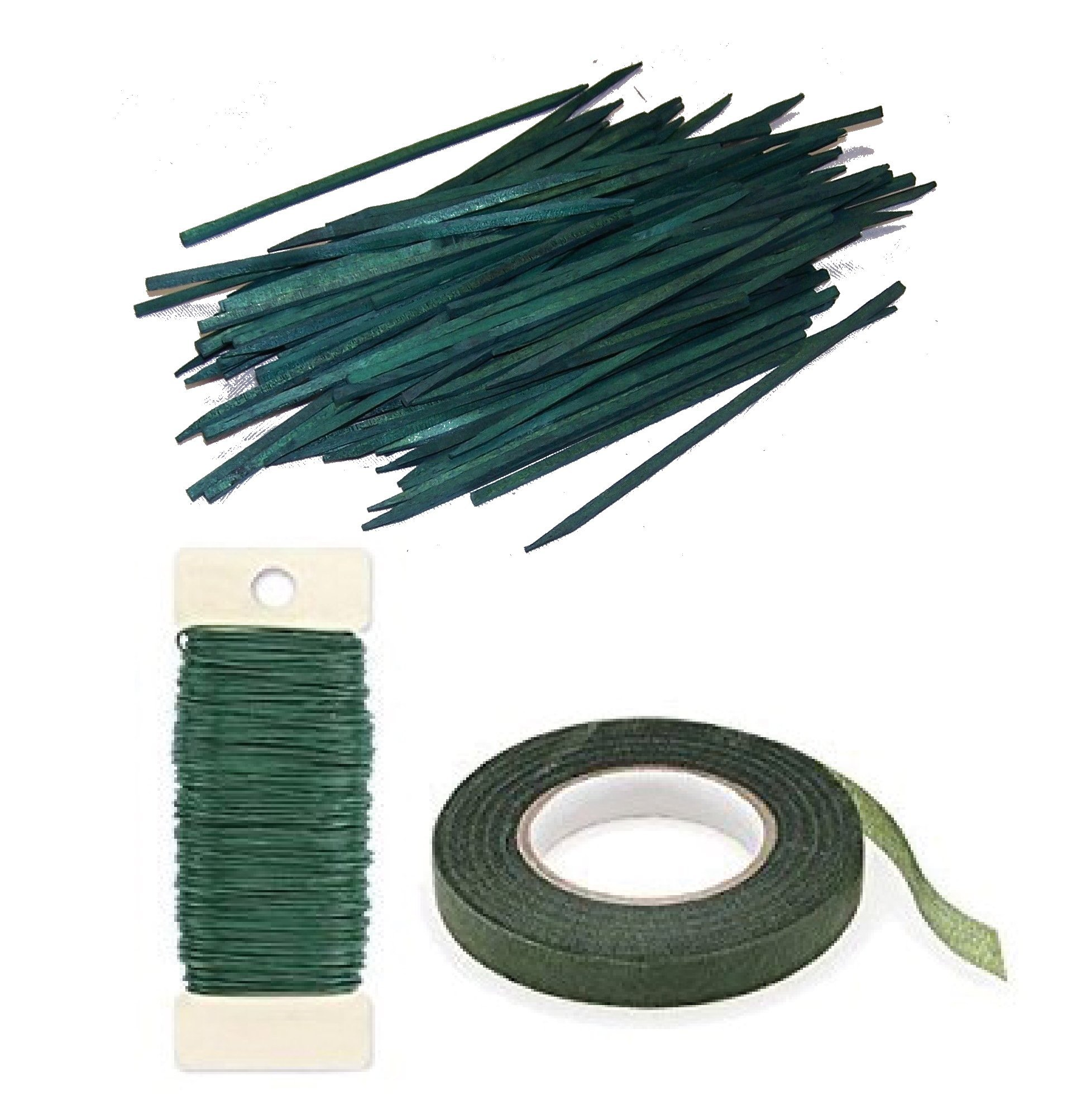 Wooden Wood Craft Picks Stakes 100 Count & 22 Gauge Paddle Wire Green Floral Tape Bundle w/ Flower Crafting eGuide (8 Inch Pick Bundle)