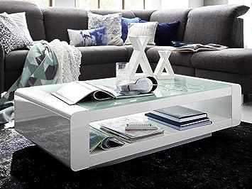 Couchtisch Weiss Hochglanz Mit Glasplatte Soleil 120x70cm Wohnzimmertisch Glastisch