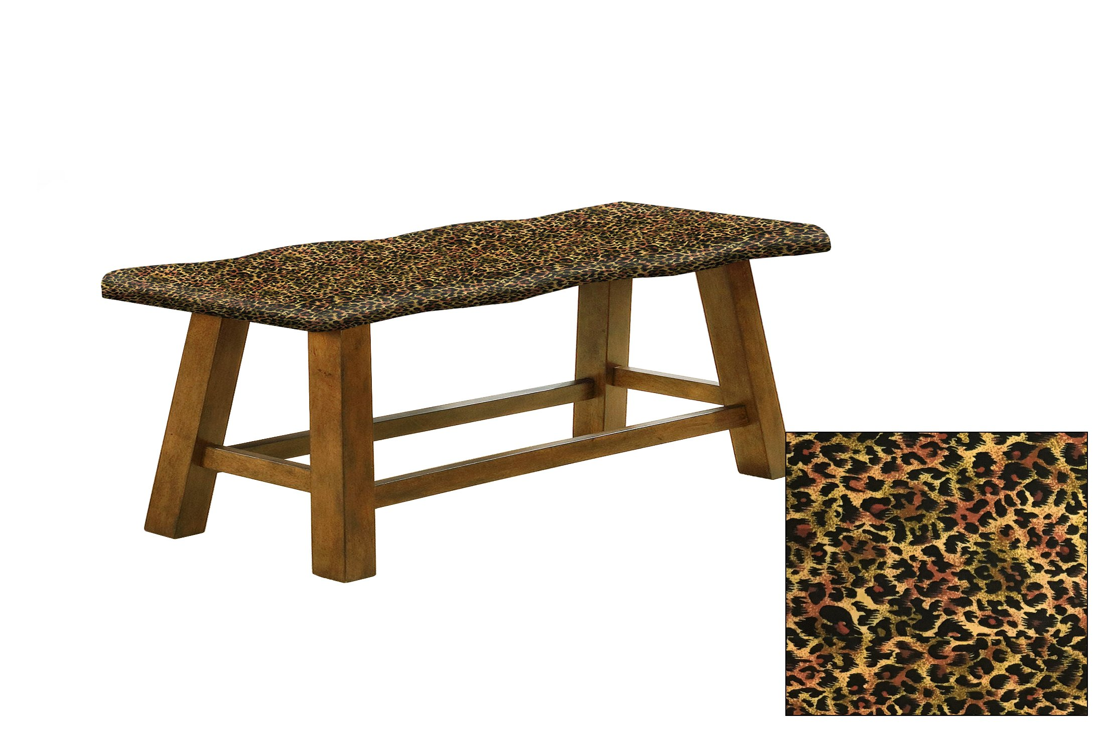 "Honey Oak 24"" Tall Counter Height Wavy Bench Featuring Your Choice of an Animal Print Fabric Covered Padded Seat Cushion (Cheetah Small Cotton)"