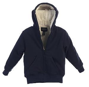 Gioberti Boys Sherpa Lined Zip Up Fleece Hoodie Jacket, Navy, Size 14