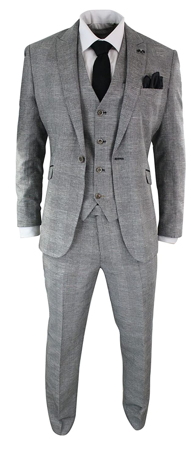 Cavani Mens 3 Piece Herringbone Tweed Black Grey Check Suit Tailored Fit Retro Vintage