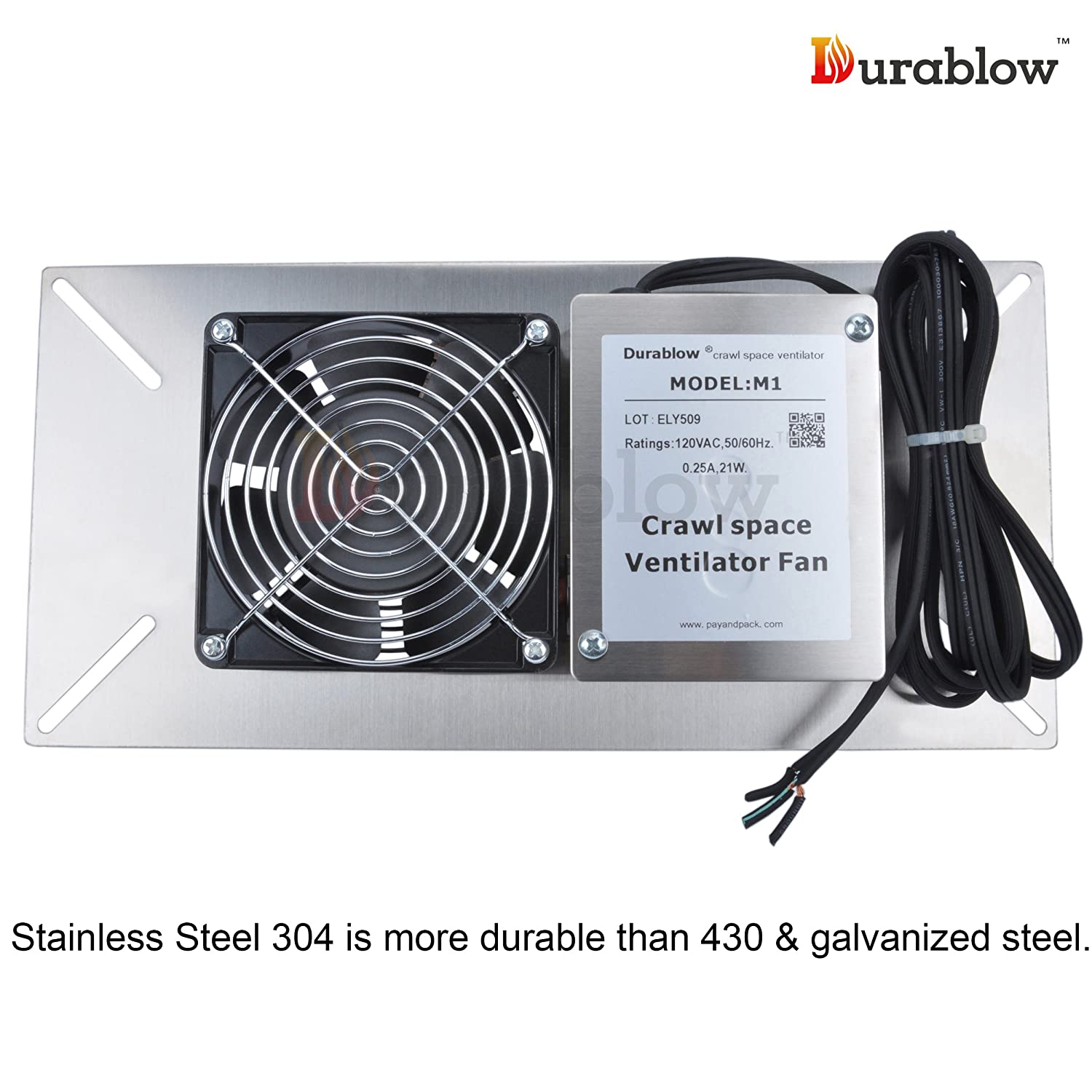 Crawl Space Vent Fans : Durablow stainless steel crawl space foundation