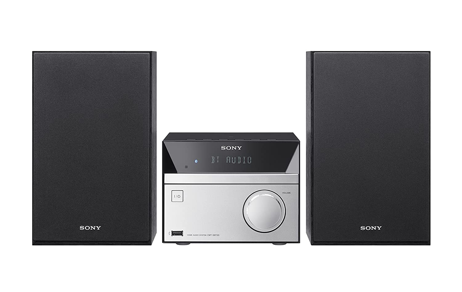 Sony CMT-SBT20 Compact Hi-Fi System with CD Bluetooth NFC – Black/Silver