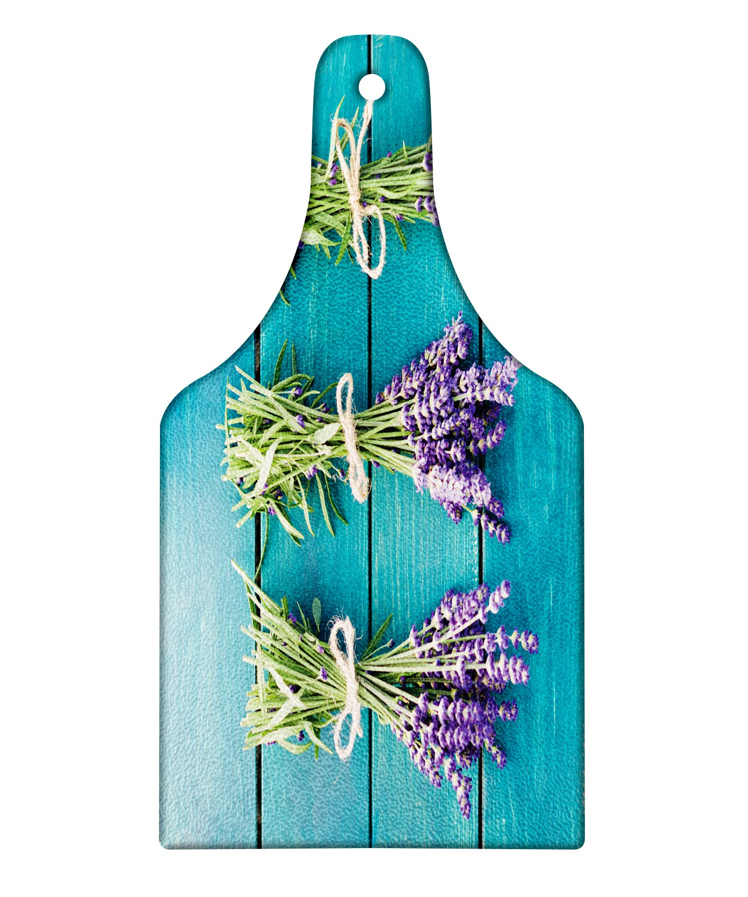 Lunarable Lavender Cutting Board, Fresh Lavender Bouquets on Blue Wooden Planks Rustic Relaxing Spa, Decorative Tempered Glass Cutting and Serving Board, Wine Bottle Shape, Sky Blue Lavender Green