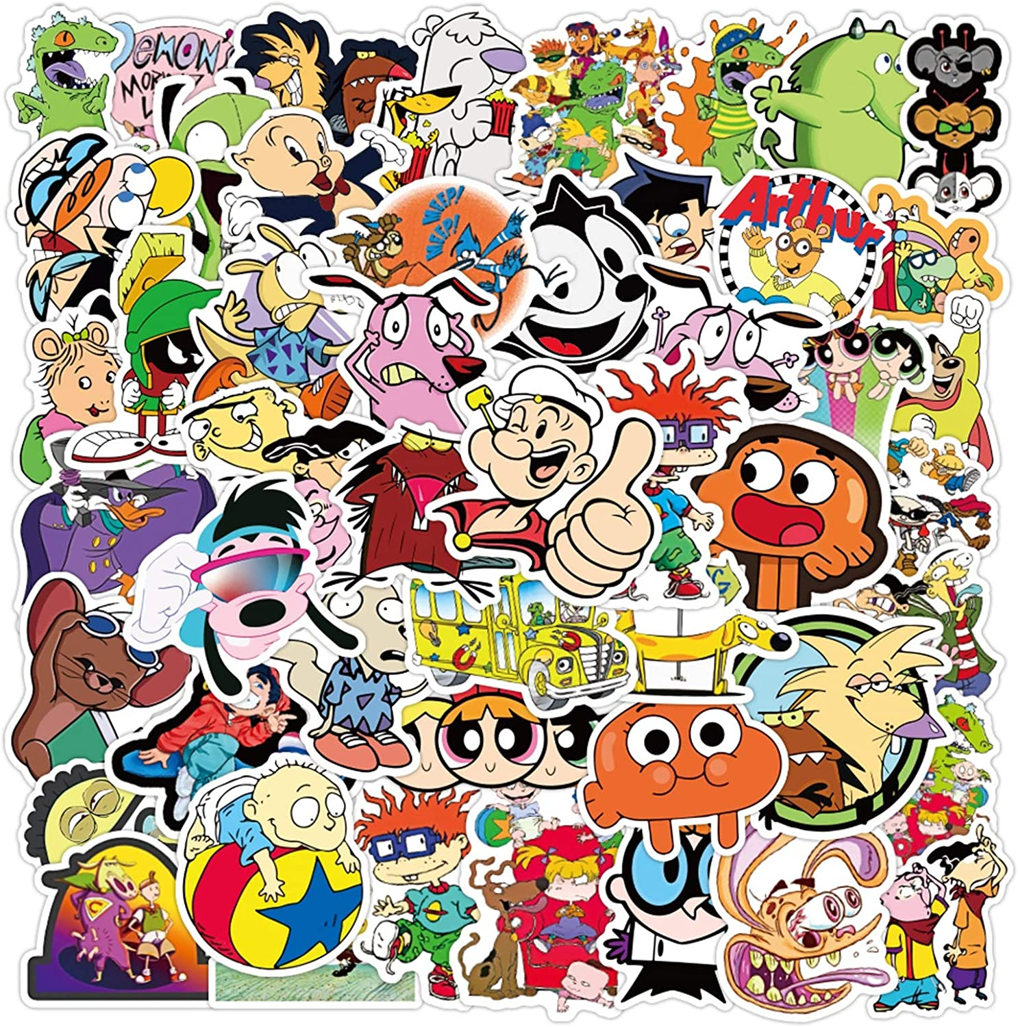 90s Cartoon Stickers Cool Anime Stickers 50PCS Waterproof Vinyl Stickers Decals for Laptop, Water Bottles, Skateboard, Phone, Bicycle Cute Luggage Guitar Decal Graffiti Patches Decoration Gifts