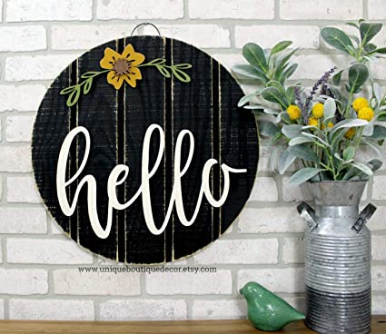 Farmhouse Style Front Door.Amazon Com Marthafox Hello Sign Front Door Sign Hello Door